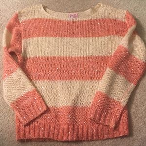 Pink and cream striped sweater